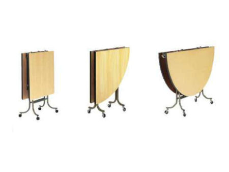 天板を真ん中から2つに割って折り畳む、折りたたみテーブル